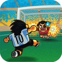 Challenge your rivals in the most famous soccer international tournaments. Are you skillful enough to fulfill your trophy case through the +90 levels of the game? Will you stand victorious after you confront the Goalkeeper Duck of Evil!?