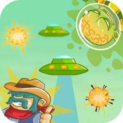 Martians have landed on earth and it seems like they don't want to be friendly! Take your gun, comb your mustache and let's start shooting bullets! Hey Cowboy, can you kill them all?