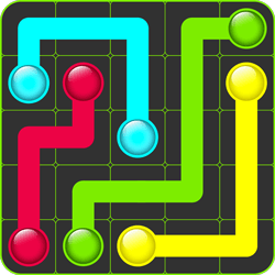 A simple, yet addictive puzzle game. Connect pairs of colorful dots with pipe to create a flow between them. You also have to cover the whole board with pipe. Pipes cannot cross or overlap each other.