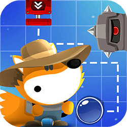 Help little fox to run through all challenging puzzle levels. Drag objects on the field to create a path and reach all gems of this funny adventure!