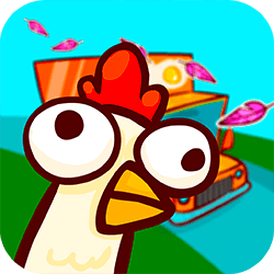 The chickens escaped from their hideous farm and the last obstacle between them and an everlasting life of freedom is a mere highway. Test your cold blood and truck dodging skills. 25 chickens put their lives in your trustworthy hands. Go Chicken Go!
